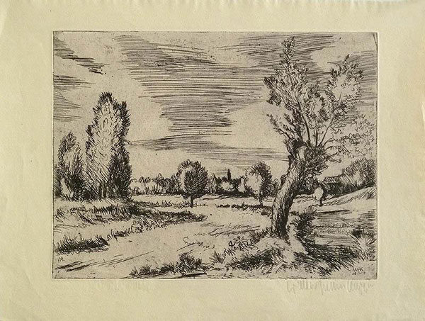 Etching: Willows on the Lower Rhine