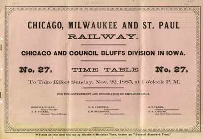 Chicago Railway Time Table