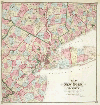 Map of New York and Vicinity, circa 1867