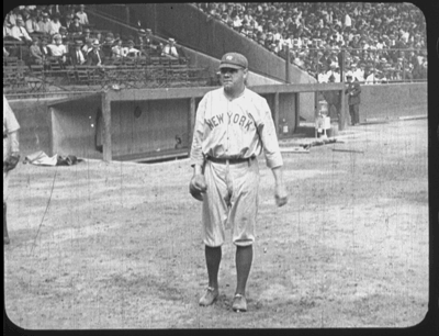 Early film reel in three parts depicting Babe Ruth