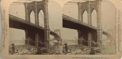 Stereoscopic view of Brooklyn Bridge