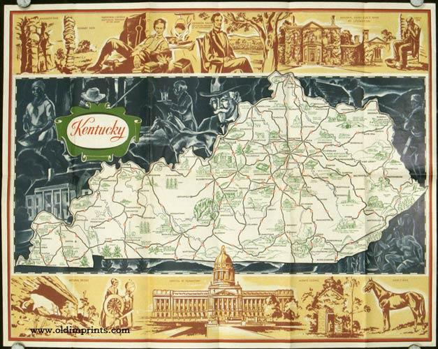 Historic Road Map of Kentucky 1932