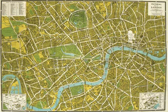 The New Pictorial Map of London 1945