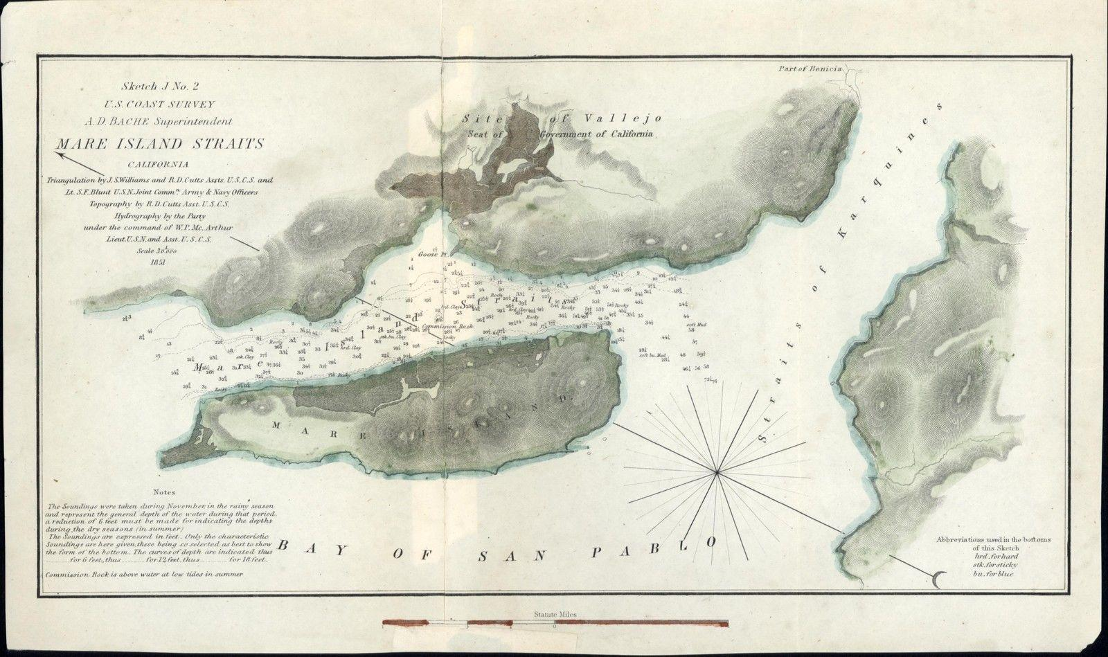 Mare Island Straits Nautical Chart 1851