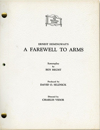 Screenplay: A Farewell to Arms