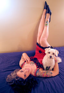 Sarah Kramer with Tattoos and dog Fergus