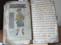 A spread from the Diary and Scrapbook of an Infantryman in Europe