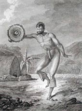 A Man of the Sandwich Islands Dancing by C. Grignion 1785