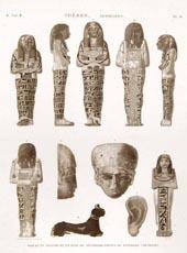Thebes. Hypogees. Idoles et Fragmens en Bois de Sycomore Peints de Diverses Couleurs. 1820