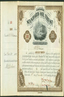 Printed stock certificate of Standard Oil Trust, 1883