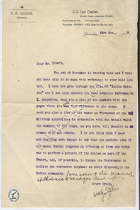 Typed signed letter by Mohandas Gandhi