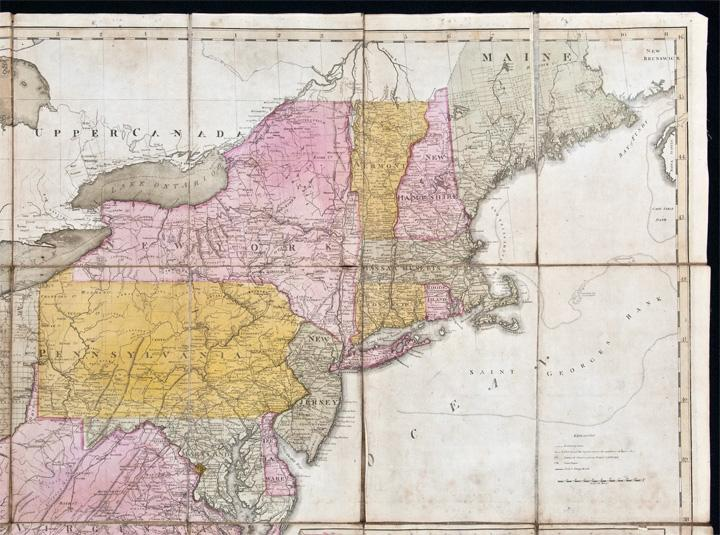 Map of the United States Exhibiting the Post Roads, etc. - c. 1812