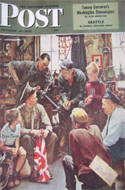Saturday Evening Post - Oct 13, 1945 - Army Officer with Flag
