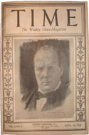 Time Magazine April 14, 1923 - Winston Churchill's first of many appearances on the cover of Time.