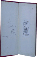 Extract from Captain Stormfield's Visit to Heaven by Mark Twain - inscribed to author William Wymark Jacobs