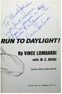 Run to Daylight by Vince Lombardi - inscribed sports editor