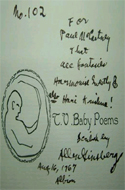 T.V. Baby Poems by Allen Ginsberg - inscribed to Paul McCartney