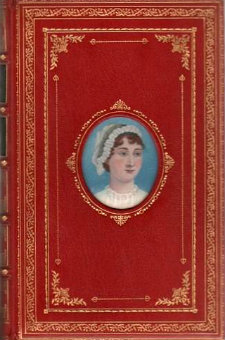 Jane Austen, pictured in miniature in a Cosway-style bound version of Pride and Prejudice