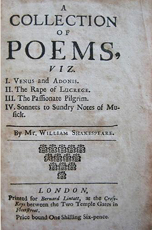 A Collection of Poems, Viz I Venus and Adonis, II the Rape of Lucrece, III the Passionate Pilgrim, IV Sonnets to Sundry Notes of Musick