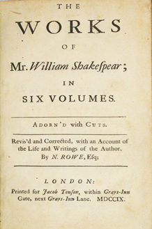 Shakespeare - Rowe Edition - Title Page