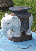 A decorative elephant at the edge of the Hemingway pool