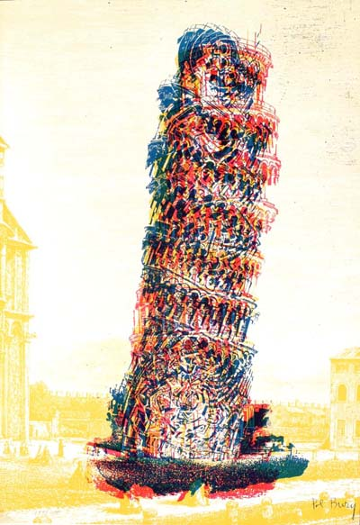 Leaning Tower by Pol Bury, Unsigned Lithograph from an edition size of 200.