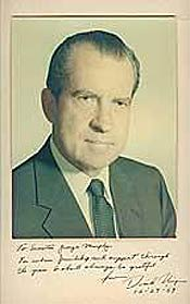 An inscribed photograph of Richard Nixon