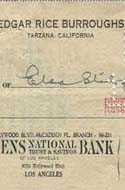 Edgar Rice Burroughs' Check