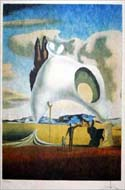 Man and Child in a Surreal Landscape - a lithograph by Salvador Dali