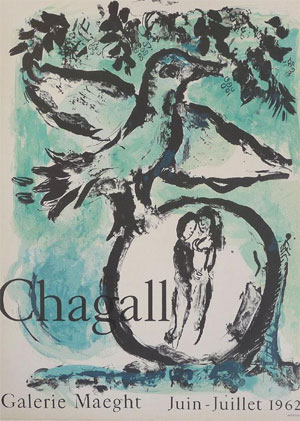 Poster designed by Marc Chagall for an exhibition  at the  Galerie Maeght in June-July 1962, Paris.