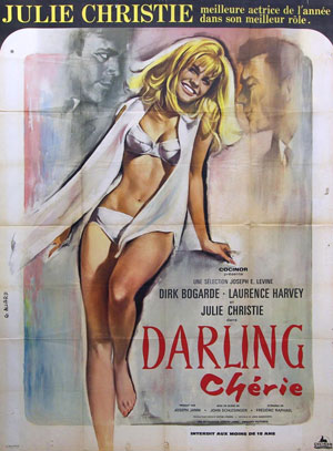 Vintage poster from 1965 promoting Darling Chérie, a movie starring Julie Christie who won the Academy Award for Best Actress