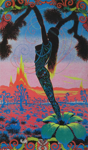 Psychedelic blacklight poster of a silhouetted woman springing from a flower against a background of vibrant blues, reds, and oranges. ca. 1970s.
