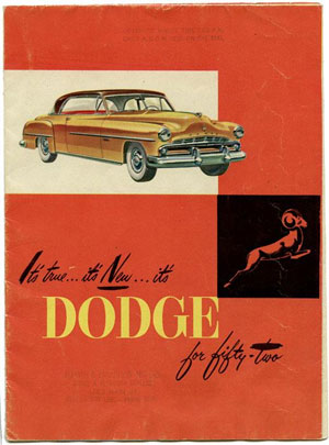 1952 poster published by Dodge Division promoting cars for a budget-minded family