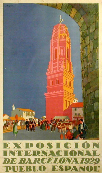 1929 poster promoting the Barcelona International Exhibition Spanish Village