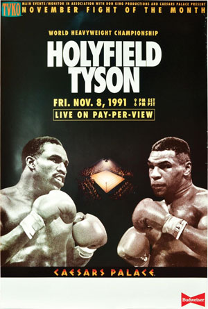 World Heavyweight Championship: Holyfield Tyson Fri. Nov. 8, 1991 (Original poster for the canceled 1991 boxing match)