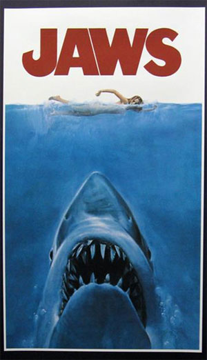 Jaws' movie poster, insert style, of the original 1975 movie.