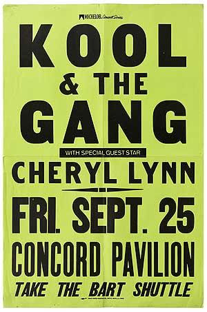 Kool & the Gang with Special Guest Star Cheryl Lynn. Fri. Sept. 25, 1981 Concord Pavilion