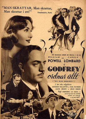 Attractive 1936 sepia toned ad from a Danish film magazine of the period for the depression hit comedy My Man Godfrey