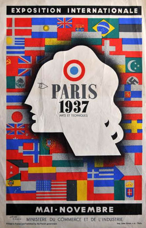 Affichette de l'Exposition Internationale Paris 1937 Signée par l'auteur CARLU