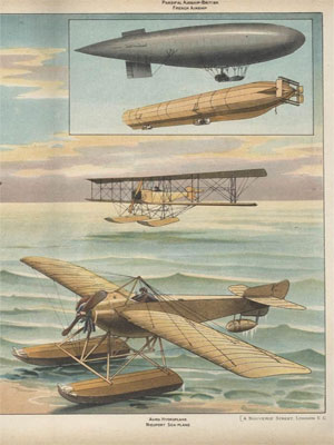 Aeroplanes and airships color poster from 1916