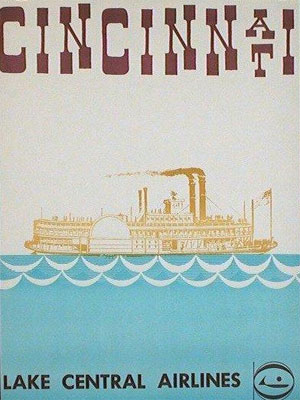 1960s poster promoting Lake Central Airlines - Cincinnati