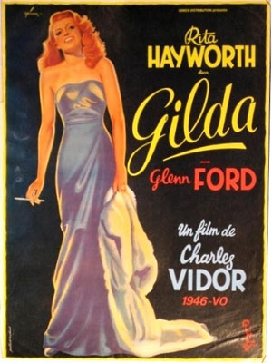 1946 poster promting the noir film Gilda starring Rita Hayworth