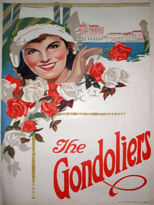 1920 poster promoting Gilbert & Sullivan's opera The Gondoliers