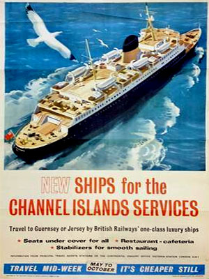 1955 poster from the Southern Region of British Railways promoting new ships