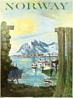 A striking poster circa 1960 of fishing boats before a snowy fjord