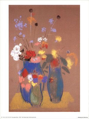 Odilon Redon Three Flower Vases Poster