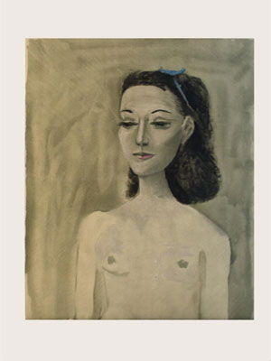Original stone lithograph by Pablo Picasso titled Portrait Of Mrs. Paul Eluard