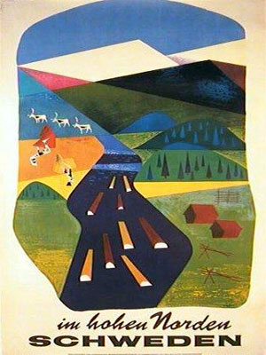 Colorful vintage poster promoting Sweden