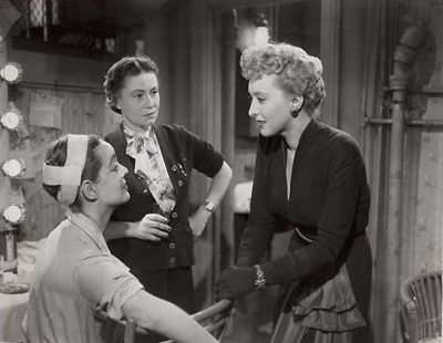 Candid photograph from the set of All About Eve starring Bette Davis, Celeste Holm and Thelma Ritter, 1950