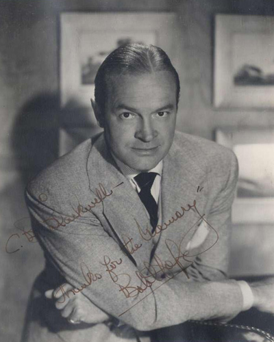 Signed silver print portrait of Bob Hope from the 1950s.
